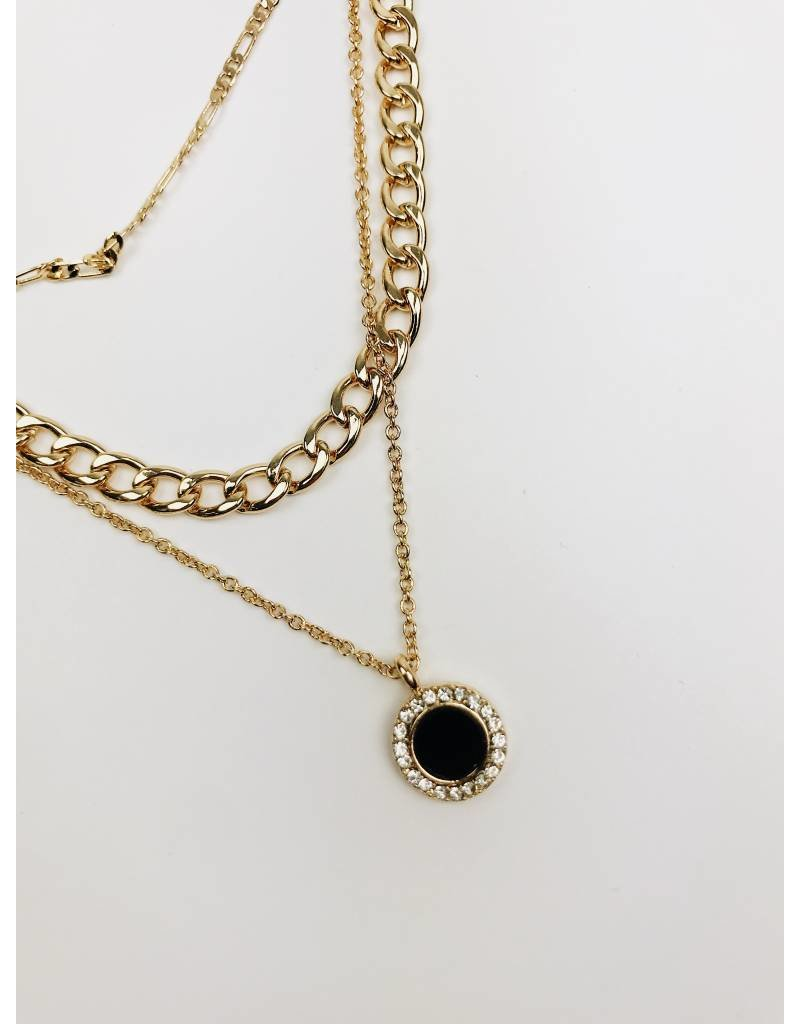 Coal - Multirow Chain Necklace with Black Round Pendant - Gold