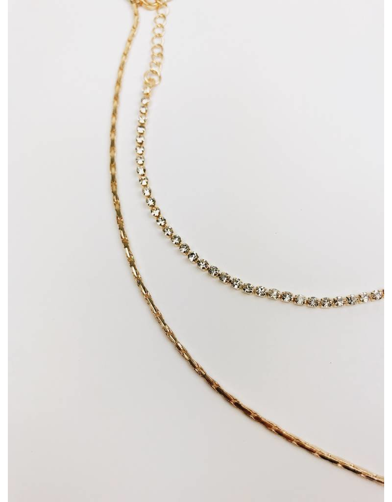 Shine On - Collier en Y multi-rang à strass - Or