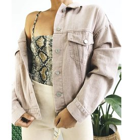 Oversized Classic Cut Denim Jacket - Pink