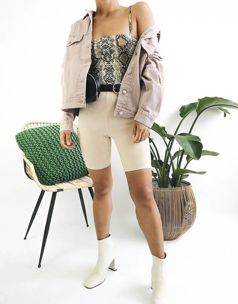 Oversized Classic Cut Denim Jacket - Pink