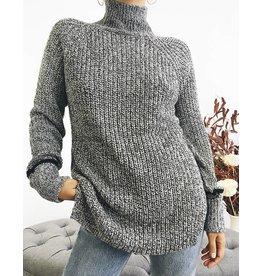 Pull long à col roulé en tricot - Gris/Noir