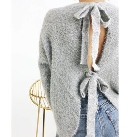 Fuzzy Sweater With Open Back and Knot details - Grey