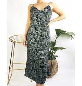 Leopard Print Midi Dress with Lace Detail - Olive