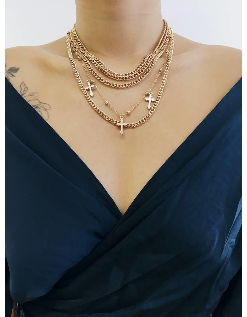 Hail Mary - Collier multi-rangs à pendentifs croix - Doré