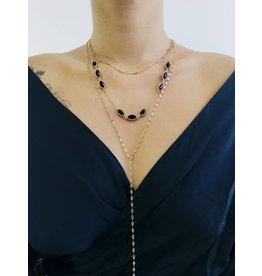 Onyx - Collier  multi-rangs avec pierre noires - Or