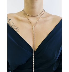 Shine On - Multirow Lariat Necklace with Diamante Detail - Gold