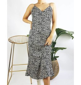 Leopard Print Midi Dress with Lace Detail - Bone