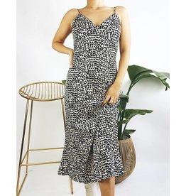 Robe midi à imprimé léopard et détail lacé - Blanc