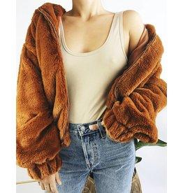Hooded Faux-Fur Teddy Jacket - Caramel