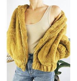 Hooded Faux-Fur Teddy Jacket - Mustard