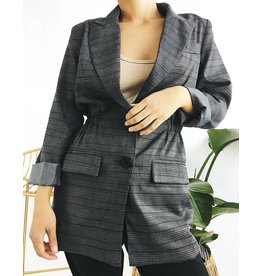 Fitted Plaid Blazer with Gathered Waist
