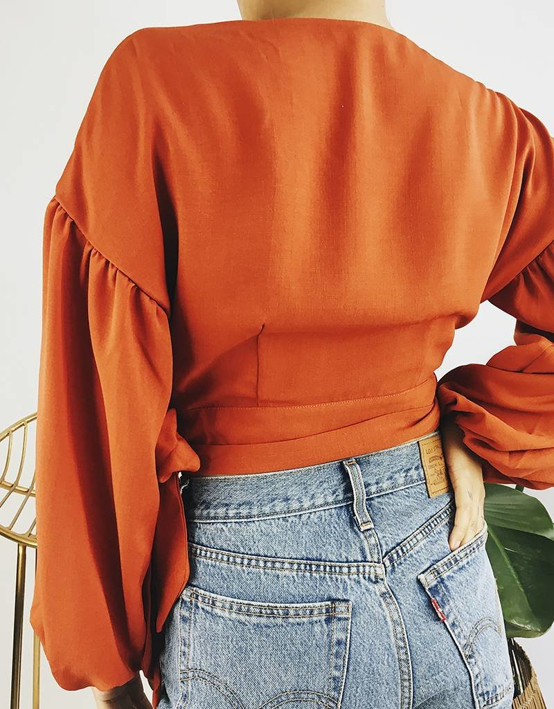 Cropped Shirt with Balloon Sleeves - Rust
