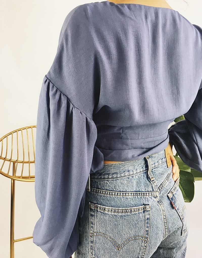 Chemise courte à manches ballon - Bleue