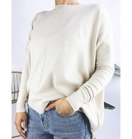 Oversized Sweater with Apparent Sewing - Oatmeal