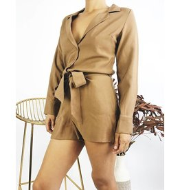 Long Sleeve Romper with Belt - Camel