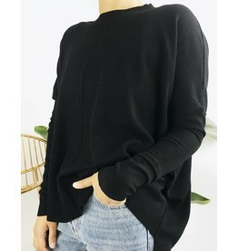 Oversized Sweater with Apparent Sewing - Black