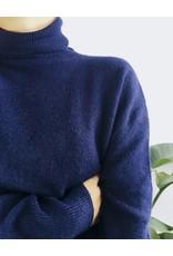 Pull surdimensionné doux col roulé - Bleu Marine