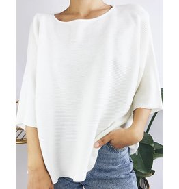 Oversized Ribbed Knit Sweater with Slits on Both Sides - Cream