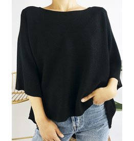 Oversized Ribbed Knit Sweater with Slits on Both Sides - Black