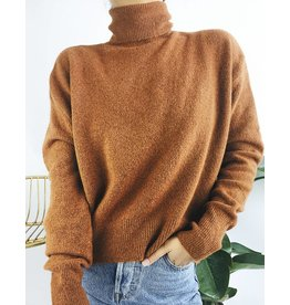 Oversized Soft Turtleneck Sweater - Rust