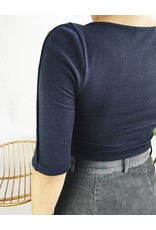 3/4 Sleeve Ribbed Top with Button Detail