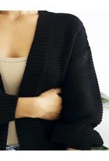 Cardigan court en tricot à manches ballon - Noir