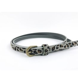Faux-Suede Slim Belt with Rounded Buckle - Leopard