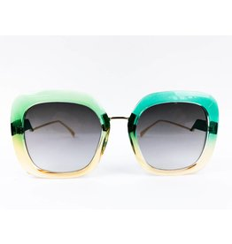 Chunky Square Two-tone Sunglasses - Green