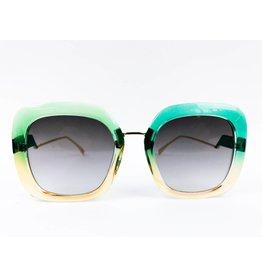 Lunettes de soleil bicolores carrées - Vert