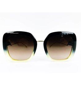 Lunettes de soleil bicolores carrées - Marron/Jaune