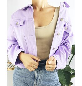 Oversized Denim Jacket - Purple