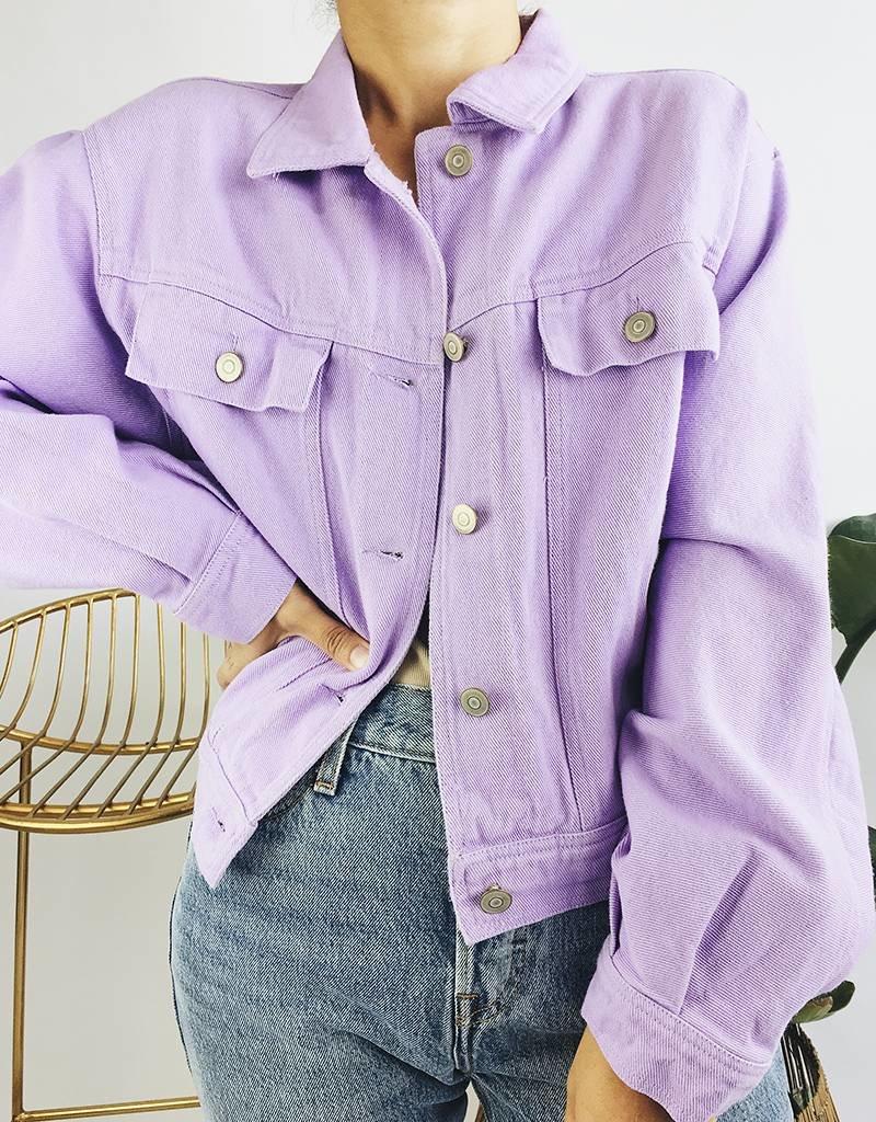 Oversized Denim Jacket - Purple