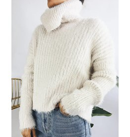 Oversized Funnel Neck Fuzzy Sweater