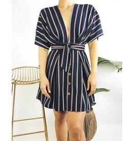 Deep V-Neck Stripped Dress with Kimono Sleeves