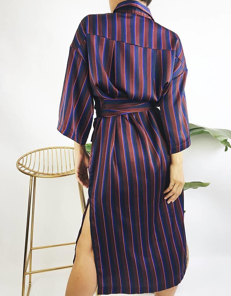 Long Striped Shirt Dress with Belt