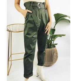 High Waisted Pants with Belt - Hunter Green