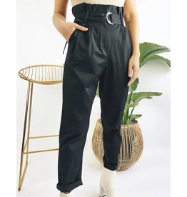 High Waisted Pants with Belt - Black