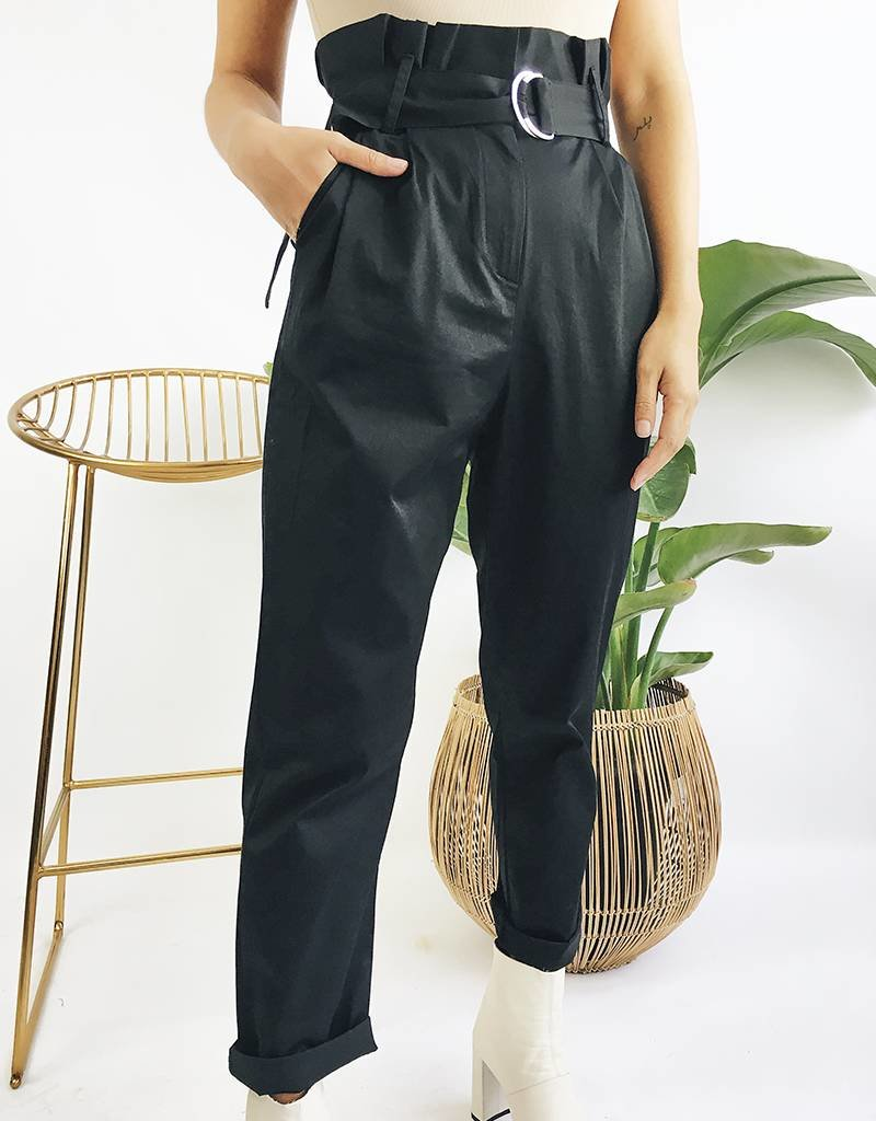 Pantalon taille haute à ceinture - Noir