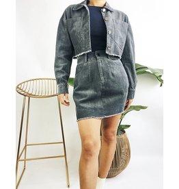 Mini-jupe corduroy  - Carbone
