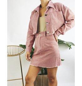 Mini-jupe corduroy  - Rose