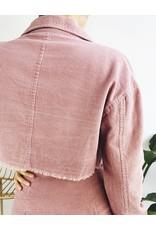 Corduroy Cropped Jacket - Pink