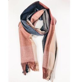 Soft Cashmere Check Scarf with Tassels - Pink/Navy