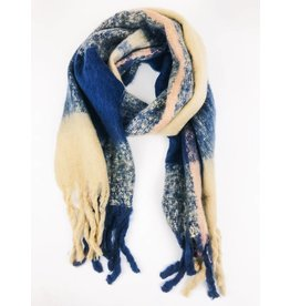 Ultra Soft Plush Scarf with Multi Colors - Navy