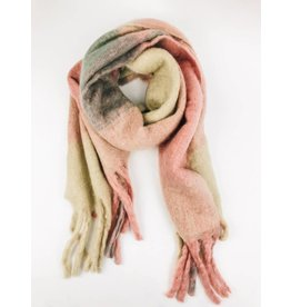 Ultra Soft Plush Scarf with Multi Colors - Pink