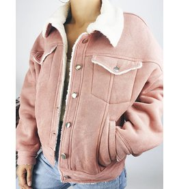 Corduroy Pink Jacket with Faux Fur Sherpa Lining