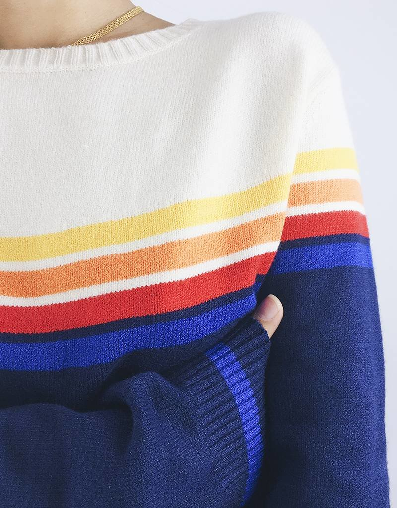 Pull multicolore à rayures