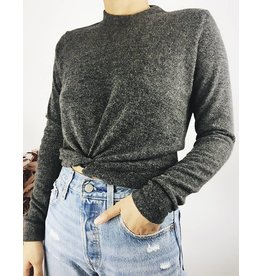 Mock Neck Sweater with Twist Front Detail - Charcoal