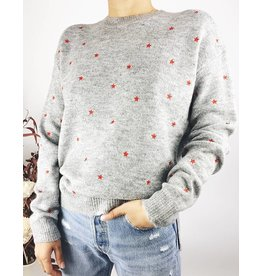 Knit Sweater with Red Stars