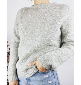 Pull en tricot à détail perle