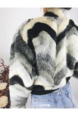 Veste teddy multicolore en fausse fourrure